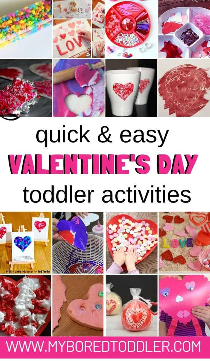 quick and easy Valentine's Day activities for toddlers preschoolers 1 year old 2 year old 3 year old pinterest 1