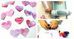 Toddler Wax Resist Heart Valentine's Day Card