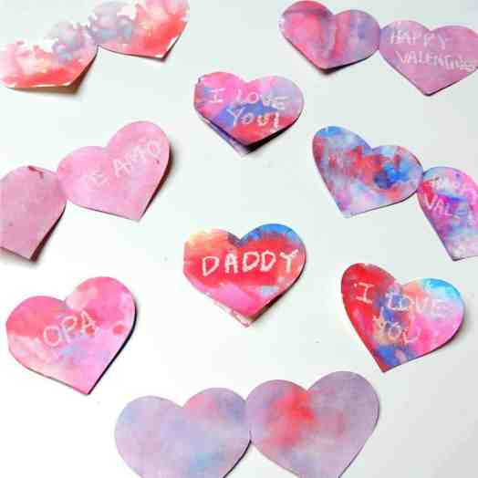 wax resist valentine's day heart cards