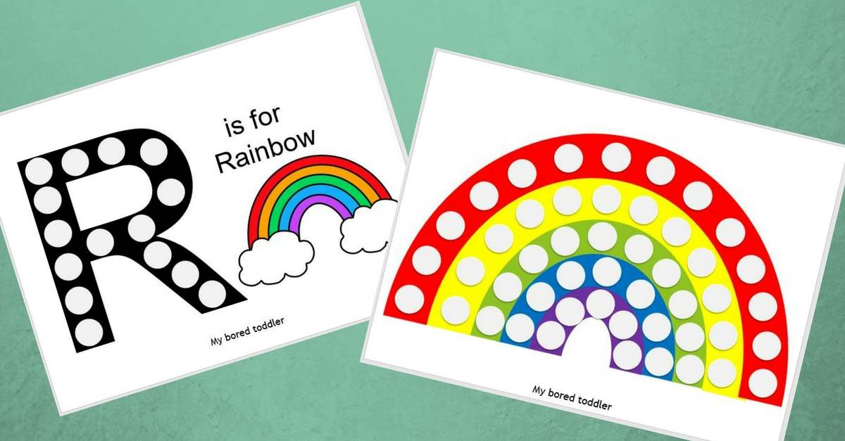 image relating to Free Printable Rainbow named Cost-free Printable Do-a-Dot Rainbow Sport - My Bored Newborn