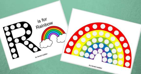 free rainbow do a dot printable for toddlers