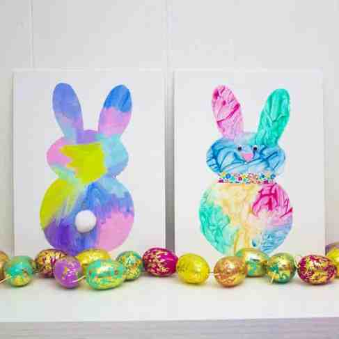 Easy easter bunny painting activity for toddlers feature