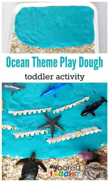 ocean play dough sensory play activity for toddlers