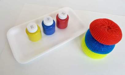 painting with pot scrubbers process art activity for toddlers pinterest