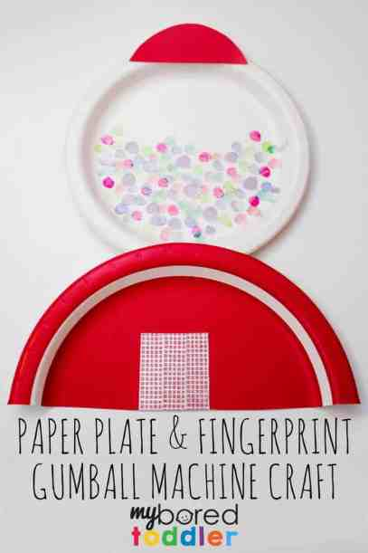 paper plate and fingerprint gumball machine craft for toddlers pinterest
