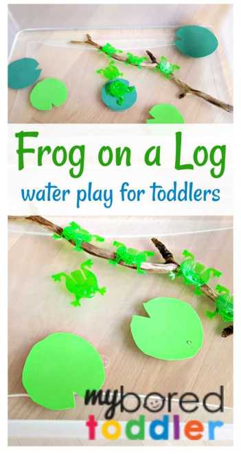frogs on a log water play and pretend play activity for babies, toddlers and preschoolers. Perfect summer or spring water play activity for 1 year olds, 2 year olds and 3 year olds. I love to incorporate some science activities around this theme too!
