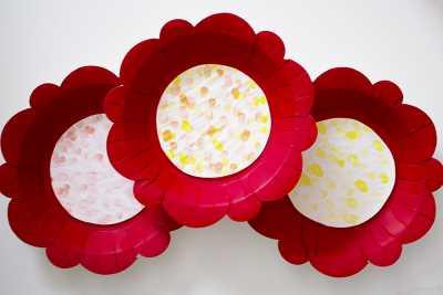 paper plate & fingerprint flower craft finished product