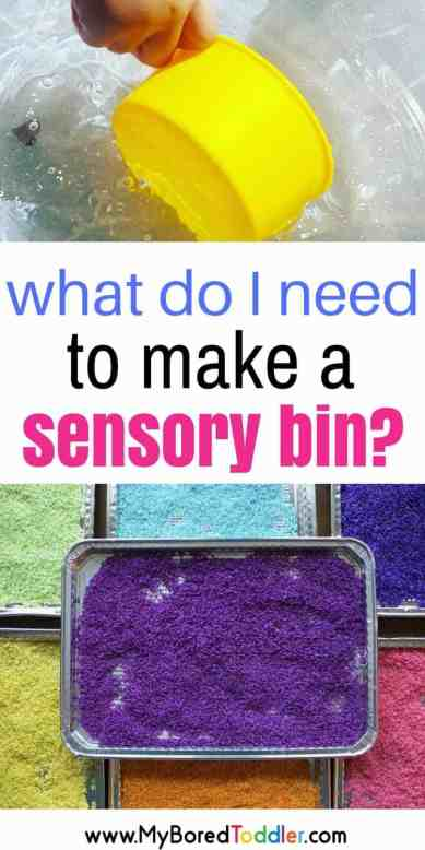 What do I need to make a sensory bin. Simple sensory bin ideas for babies and toddlers, water play, rice play, pasta play, sand play #sensorybin