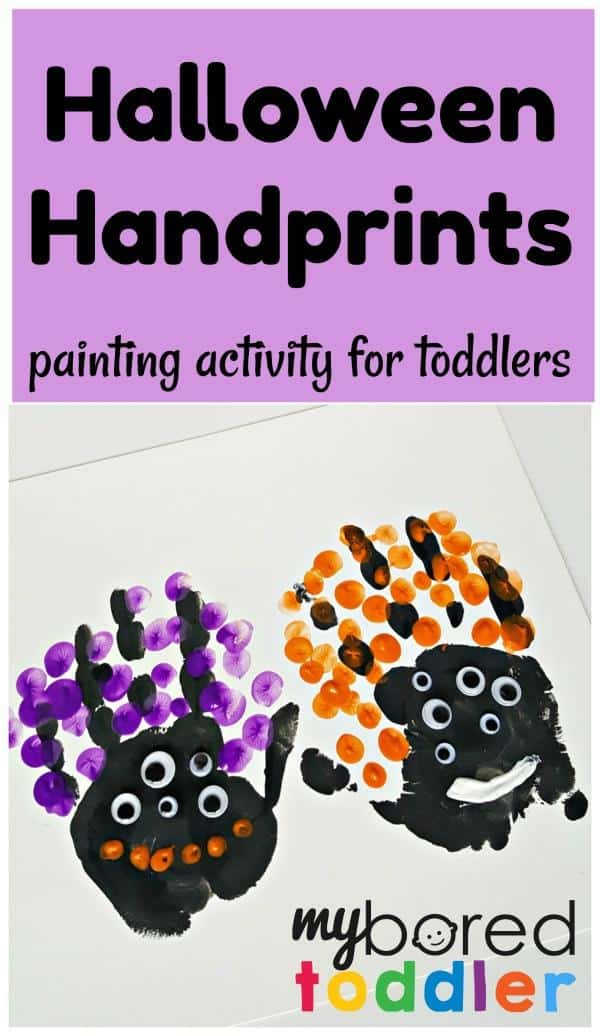 Halloween handprints toddler painting activity