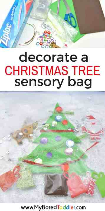 decorate a christmas tree toddler sensory bag. A fun toddler Christmas craft and toddler Christmas activity. Fun sensory play with this Christmas sensory bag that's perfect for babies toddlers one year olds, two year old and three year olds.