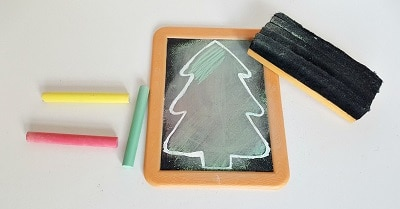 Christmas tree chalkboard art activity for toddlers 3