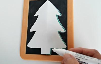chalkboard Christmas tree craft template