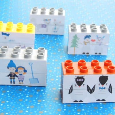42 LEGO Crafts and Activities for Kids for Endless Fun featured by top US lifestyle blogger, Marcie in Mommyland: Winter themed Lego Duplo puzzle for toddlers