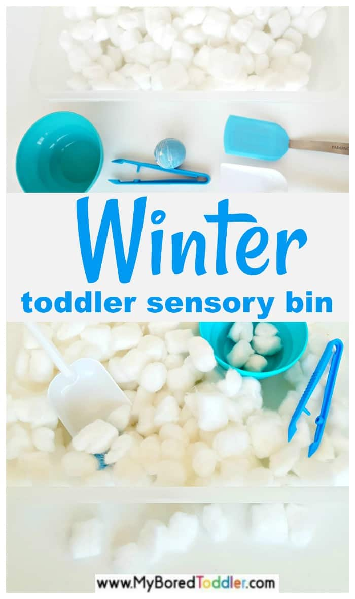 winter sensory bin for toddlers. A perfect sensory bin for toddlers to play with. #toddlerwinter #sensorybin #sensoryplay