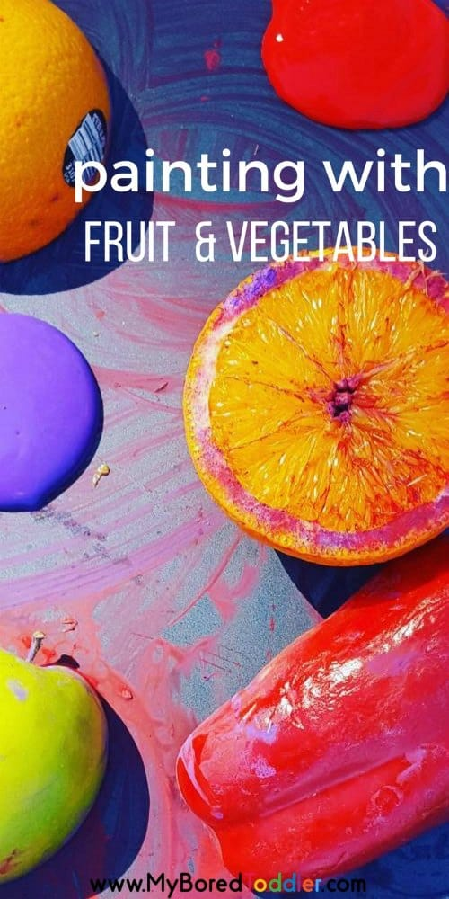 painting with fruit and vegetables. Toddler painting #toddlerpainting #painting #toddlercraft #toddleractivity #toddleractivities