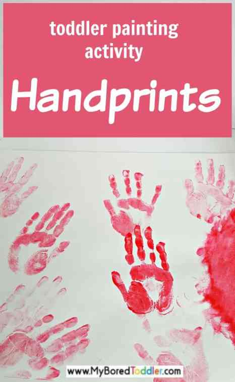 handprint painting for toddlers - a fun toddler activity that's easy. A perfect sensory and painting idea for one year olds, two year olds, three year olds. #toddleractivity #toddlerpainting #toddlerfun