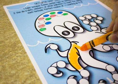 Octopus Do-a-dot fine motor activity coloring in