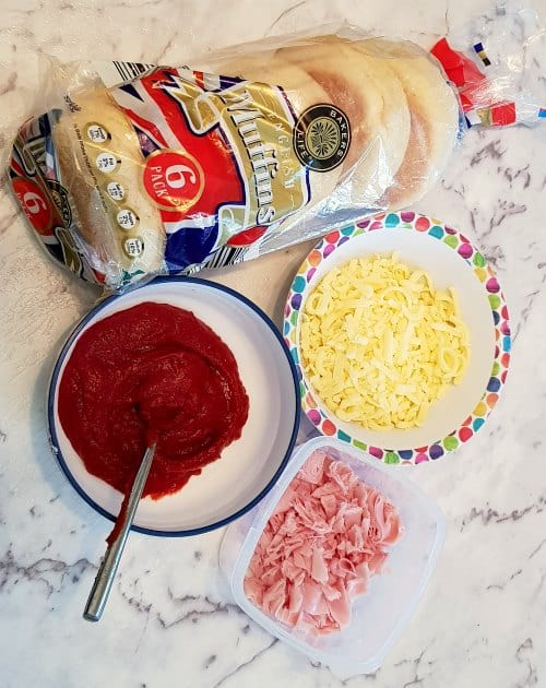 easy english muffin pizzas your toddler can make supplies