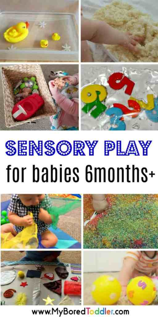 easy sensory play ideas for babies 6 months pllus. Baby activities involving sensory play #babysensory #babyactivity
