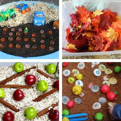 Autumn Fall Sensory Bins for Toddlers 2 and 3 year olds