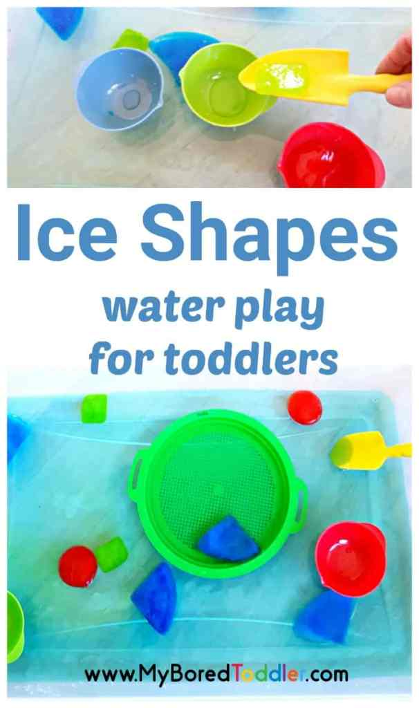 Ice shapes water play activity for toddlers