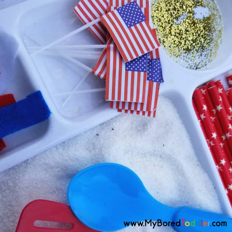 Patriotic Sensory Tray for Toddlers