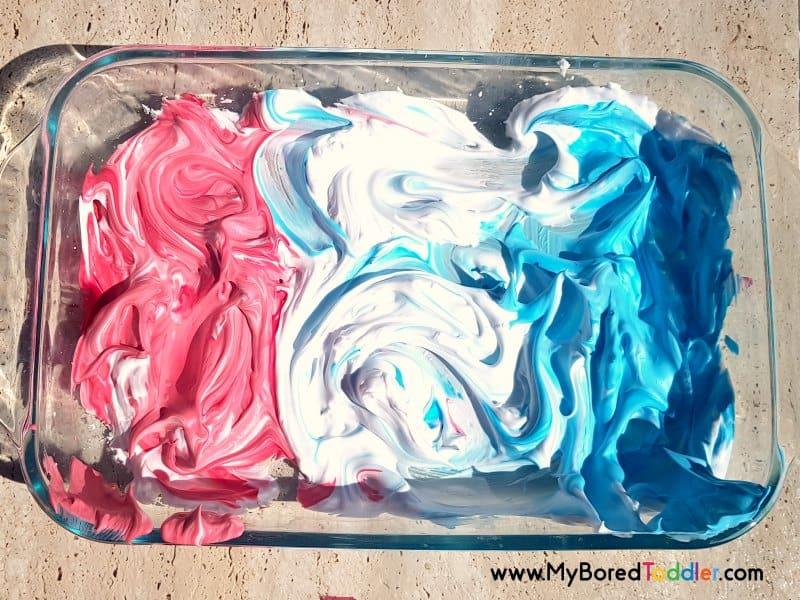 red white blue shaving cream sensory play idea