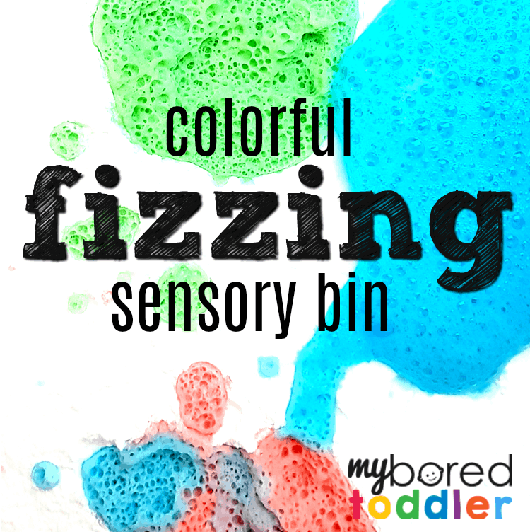 Colorful Fizzing Sensory Bin with Vinegar and Baking Soda
