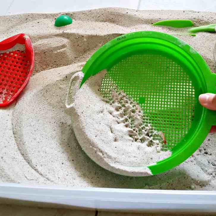 sifters in the sandbox toddler activity fine motor and sensory play
