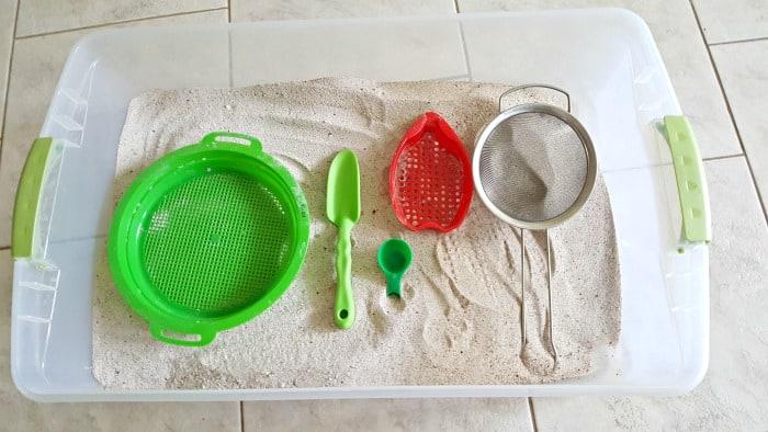 supplies for sandbox sifter activity