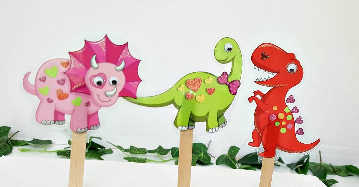Craft stick dinosaur puppets