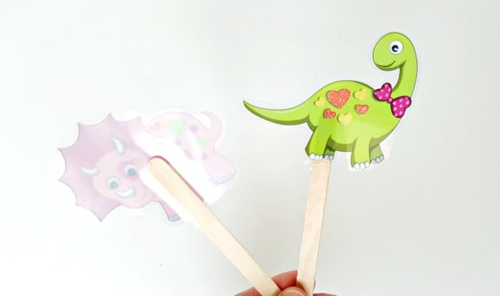 Craft stick puppets front and back views