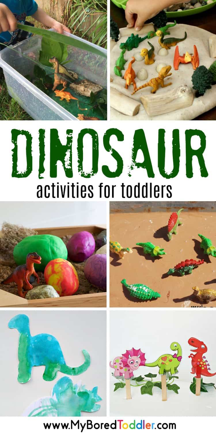 dinosaur activities for toddlers 2 year olds 3 year olds dinosaur sensory bins sensory play #myboredtoddler #dinosaurs #sensorybins #sensoryplay #toddlers #toddleractivity #toddleractivities