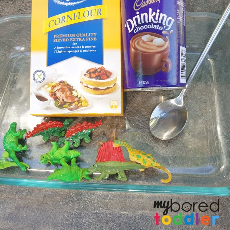 taste safe mud oobleck dinosaur sensory play for toddlers