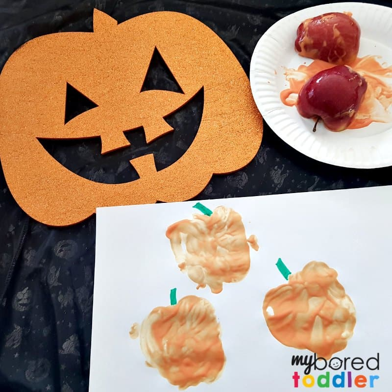 apple printing pumpkin Halloween for toddlers feature