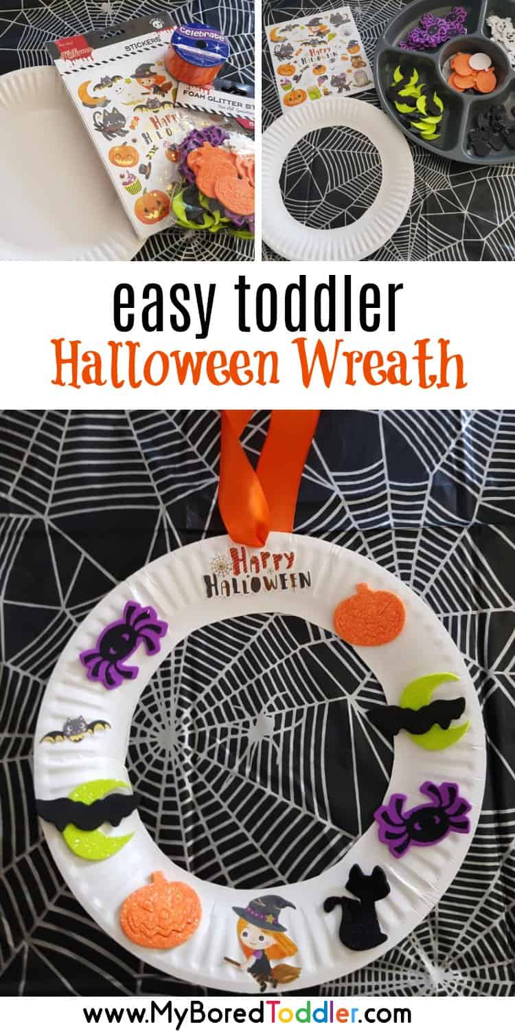 easy Halloween sticker wreath for toddlers pinterest no text
