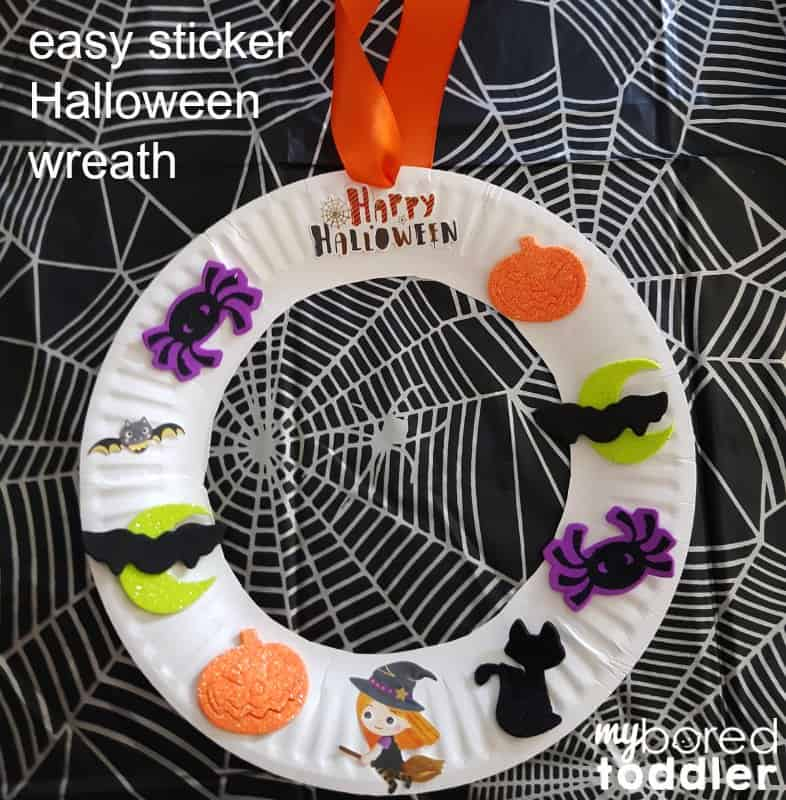 easy halloween sticker wreath for toddlers feature