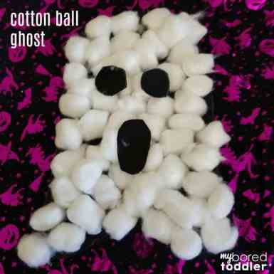 text finished with eyes and mouth cotton wool ball ghost craft