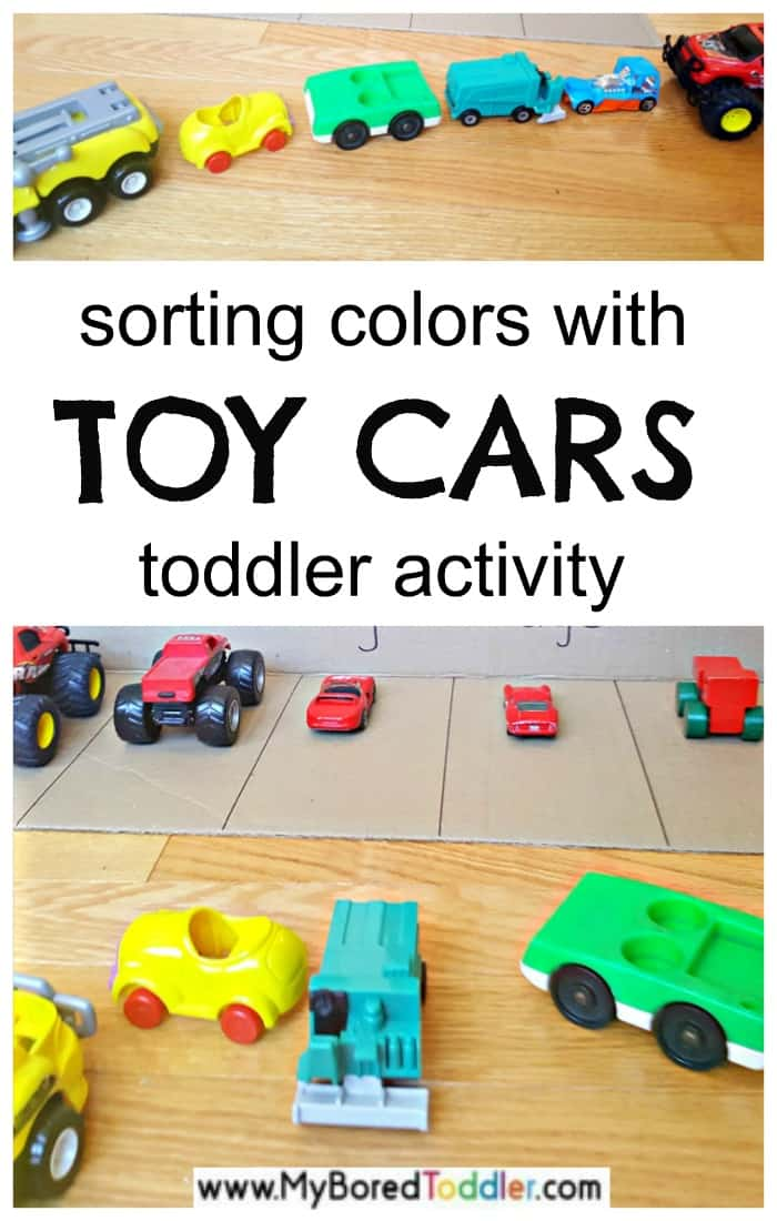 Toddler sorting activity with toy cars