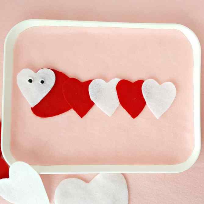 A Valentine animal made with felt cutouts