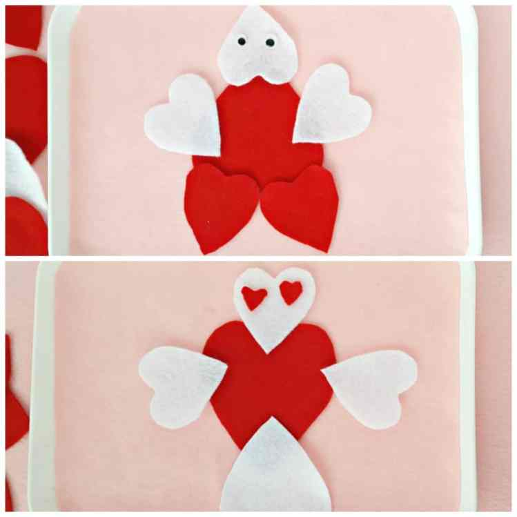 Create silly characters with heart shaped felt pieces toddler activity