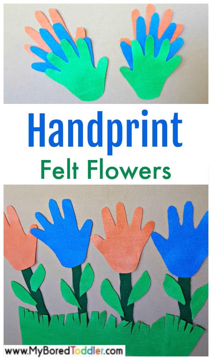 Handprint felt flowers toddler activity