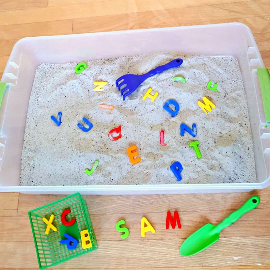 Letters of the alphabet in the sandbox