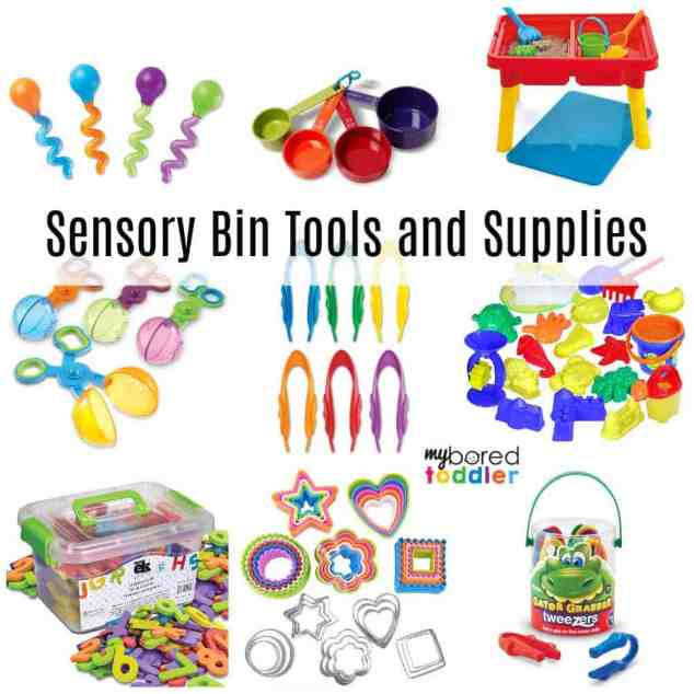 Sensory Bin tools and supplies for toddlers