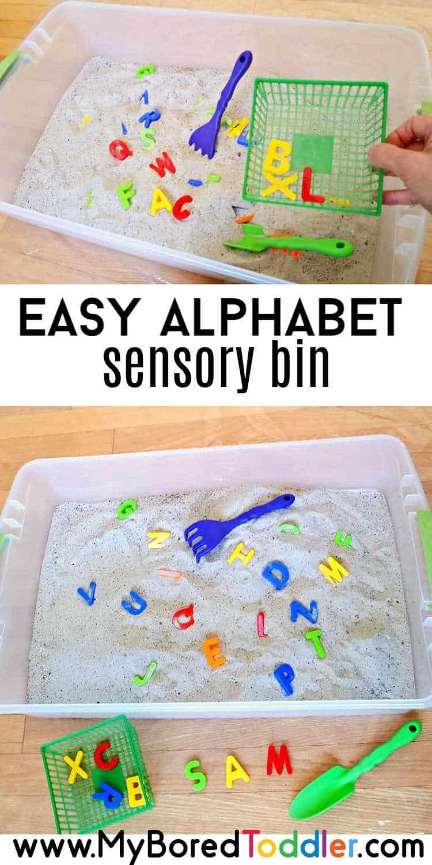 easy alphabet sensory bin for toddlers pinterest