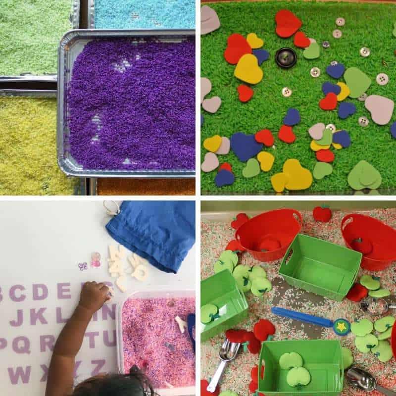 rice based sensory bin for toddlers