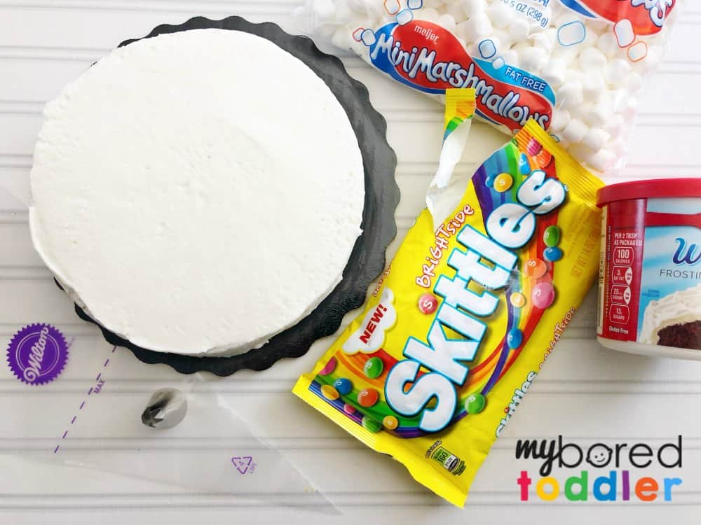 easy rainbow birthday cake with skittles and marshmallows what you need