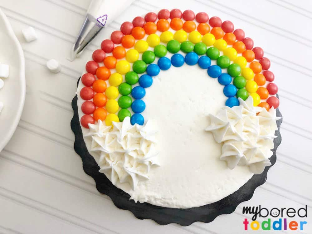 how to make an easy birthday cake using skittles rainbow themed step 6