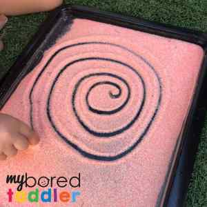 sensory salt drawing fun for toddlers