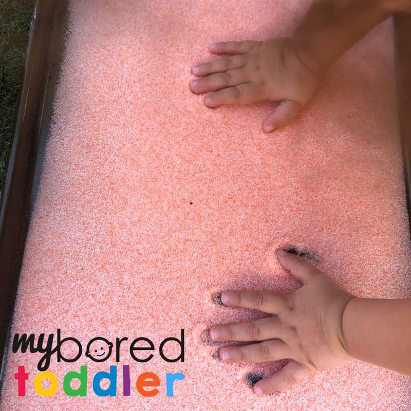 sensory salt drawing activity for toddlers
